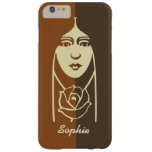 Art Deco Long Haired Girl With Rose Barely There iPhone 6 Plus Case at Zazzle