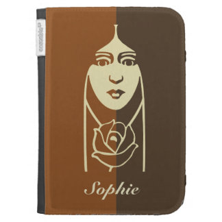 Art Deco Long Haired Girl With Rose Cases For The Kindle
