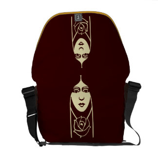 Art Deco Long Haired Girl With Rose Courier Bag