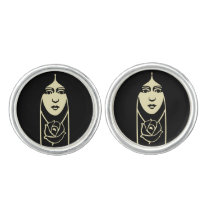 Art Deco Long Haired Girl With Rose Cufflinks at Zazzle
