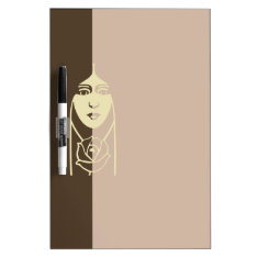 Art Deco Long Haired Girl With Rose Dry-Erase Board at Zazzle