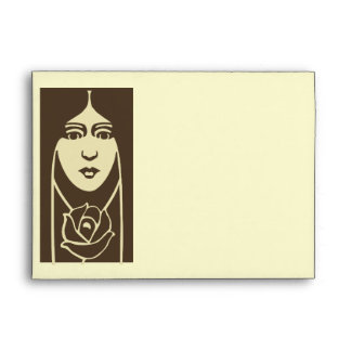 Art Deco Long Haired Girl With Rose Envelopes