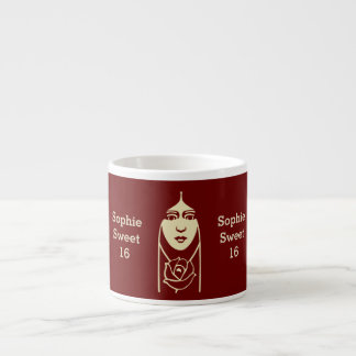 Art Deco Long Haired Girl With Rose Espresso Cup