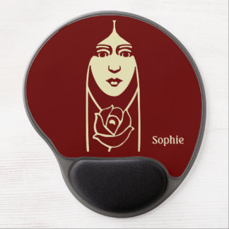 Art Deco Long Haired Girl With Rose Gel Mouse Pad