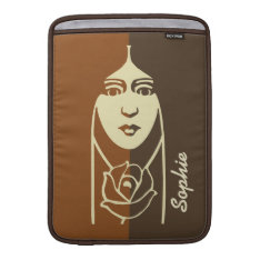 Art Deco Long Haired Girl With Rose Macbook Sleeve at Zazzle