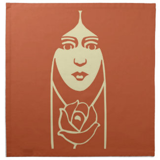 Art Deco Long Haired Girl With Rose Napkin