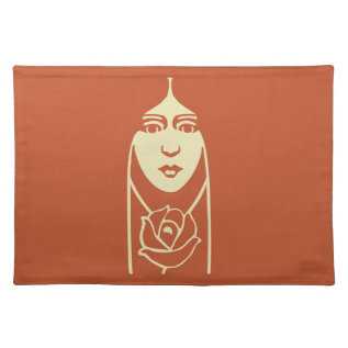 Art Deco Long Haired Girl With Rose Placemat at Zazzle