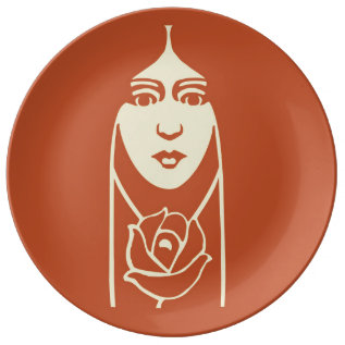 Art Deco Long Haired Girl With Rose Porcelain Plate at Zazzle