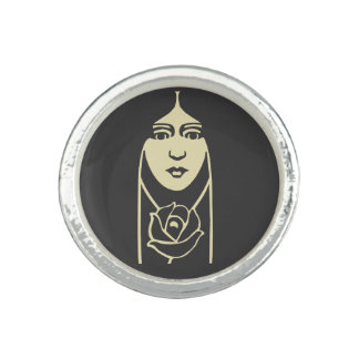 Art Deco Long Haired Girl With Rose Ring