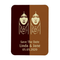 Art Deco Long Haired Girl With Rose Save The Date Magnet at Zazzle