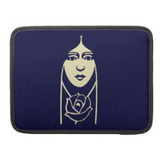 Art Deco Long Haired Girl With Rose Sleeve For Macbook Pro at Zazzle