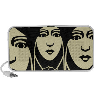 Art Deco Long Haired Girl With Rose Portable Speakers