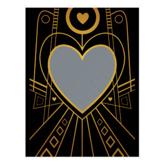 Art Deco Love Heart Border Postcard