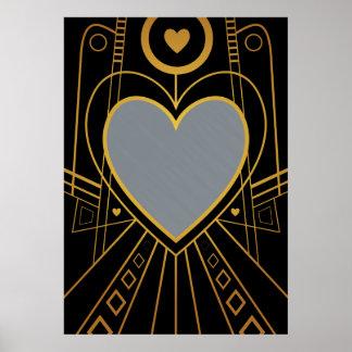 Art Deco Love Heart Border Poster