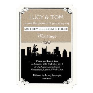 Art Deco 'Love in the City' Wedding Invitation