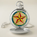 """Art Deco Magic Pentagram 1930s Color Pocket Watch<br><div class=""""desc"""">Art Deco Magic Pentagram 1930s Color featuring the Five Aspects: Spirit,  Water,  Fire,  Earth,  Air</div>"""