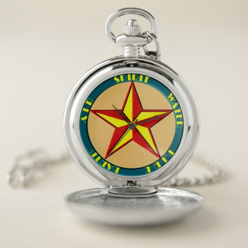 Art Deco Magic Pentagram 1930s Color Pocket Watch