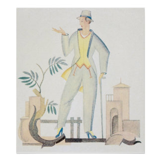 Art Deco Man with Walking Stick Posters