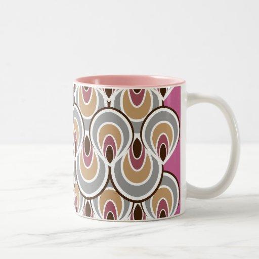 Art déco maravilloso/rosa y gris retros del diseño tazas de café