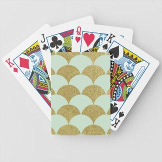art déco, menta, oro, modelo, concha de peregrino, baraja cartas de poker