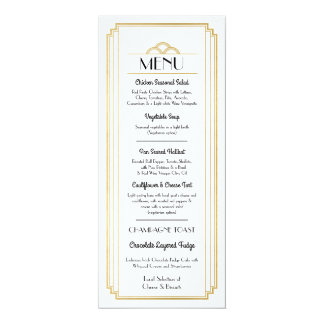 Art Deco Menu Gold White Wedding Reception Card