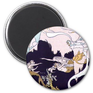 Art Deco Mermaids 2 Inch Round Magnet