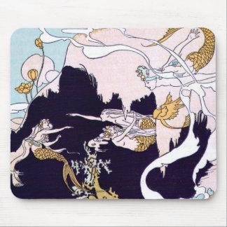 Art Deco Mermaids Mouse Pad