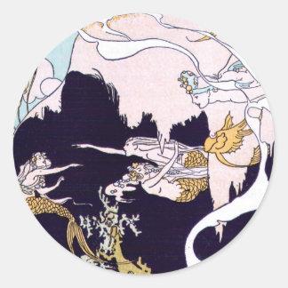 Art Deco Mermaids Round Sticker