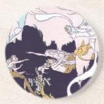 Art Deco Mermaids Sandstone Coaster