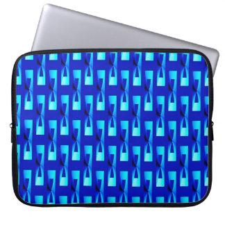 Art Deco Metallic Geometric - Cobalt Blue Computer Sleeve