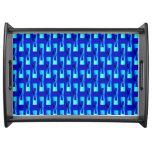 Art Deco Metallic Geometric - Cobalt Blue Serving Tray