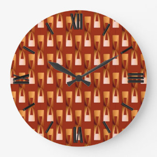 Art Deco Metallic Geometric - Copper and Rust Large Clock