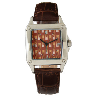 Art Deco Metallic Geometric - Copper and Rust Watch