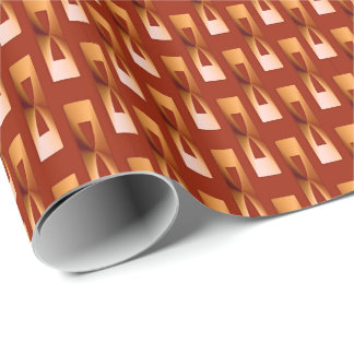 Art Deco Metallic Geometric - Copper and Rust Wrapping Paper