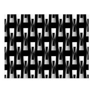 Art Deco Metallic Geometric - Silver and Black Postcard