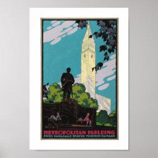 Art Deco Metropolitan Building NYC Travel Poster