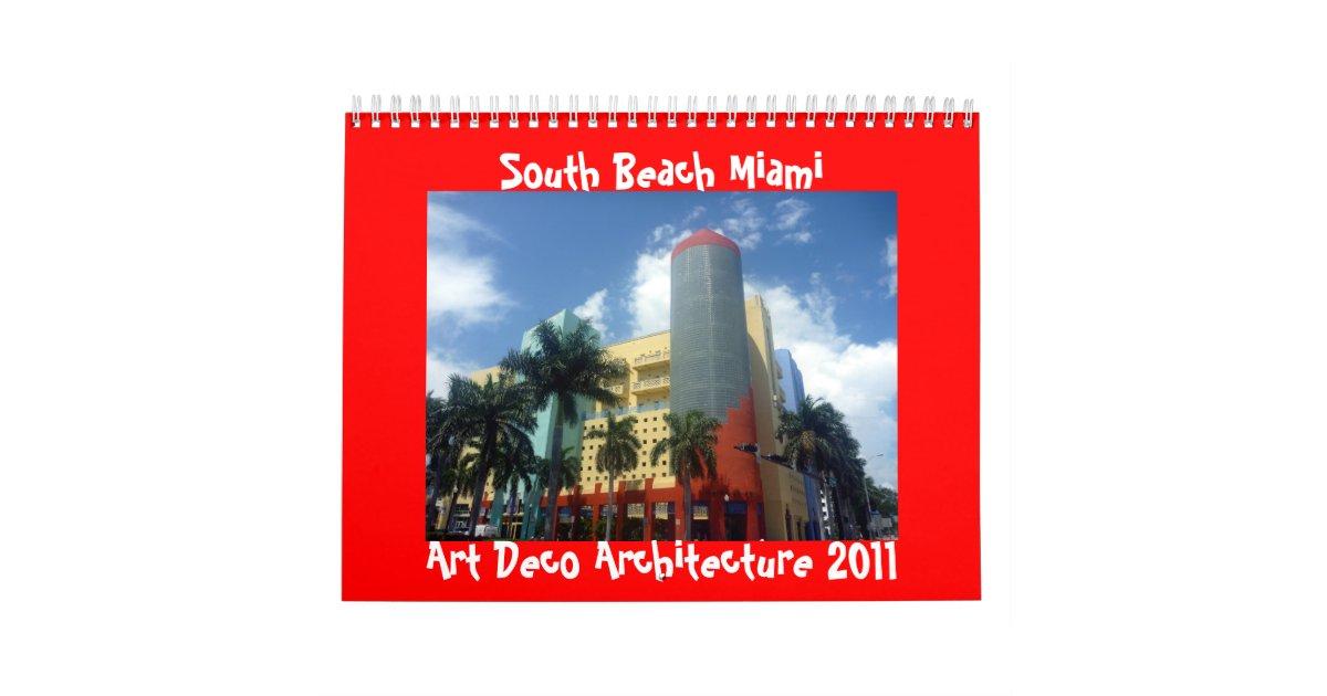 Art Calendar Miami : Art deco miami calendar zazzle