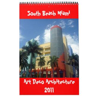 art deco miami 2011 single page calendar