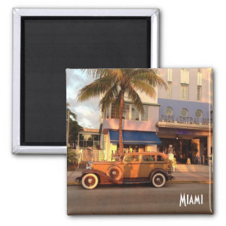 Art Deco Miami Beach 2 Inch Square Magnet
