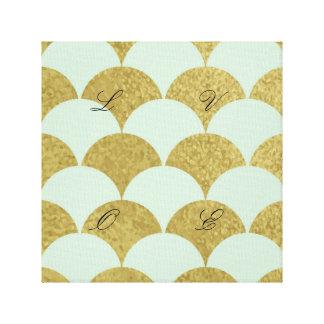 art deco,mint,gold,pattern,scallop,trendy,vintage, canvas print
