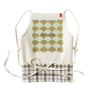 art deco,mint,gold,pattern,scallop,trendy,vintage, zazzle HEART apron