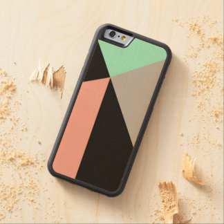 Art Deco Mint, Peach, and Black Carved Maple iPhone 6 Bumper Case