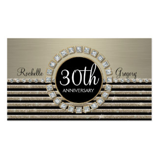 Art Deco Modern Horizontal Stripe Glitter 30th Double-Sided Standard Business Cards (Pack Of 100)
