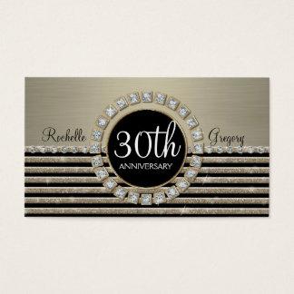 Art Deco Modern Horizontal Stripe Glitter 30th Business Card