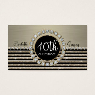 Art Deco Modern Horizontal Stripe Glitter 40th Business Card