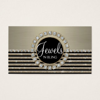 Art Deco Modern Horizontal Stripe Glitter Business Business Card