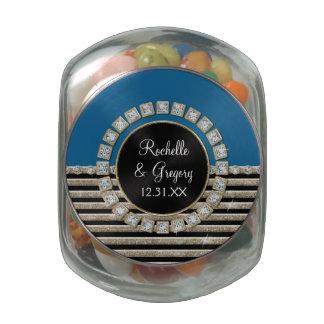 Art Deco Modern Horizontal Stripe Glitter Favors Glass Candy Jars
