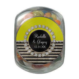 Art Deco Modern Horizontal Stripe Glitter Favors Glass Jar