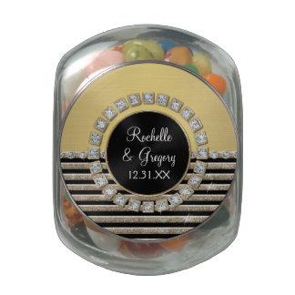 Art Deco Modern Horizontal Stripe Glitter Favors Glass Candy Jar