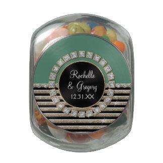 Art Deco Modern Horizontal Stripe Glitter Favors Jelly Belly Candy Jar
